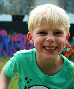 Boy, Child, Self-conscious, Joy, Watch, Laugh, Blond