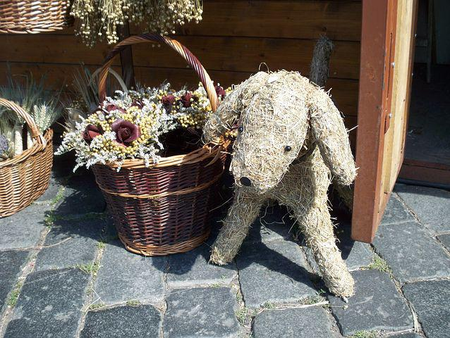 Dog, Basket, Straw Dog, Pavers