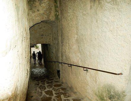 Medieval Village, Cévennes, Lane, Pavers, Arcade