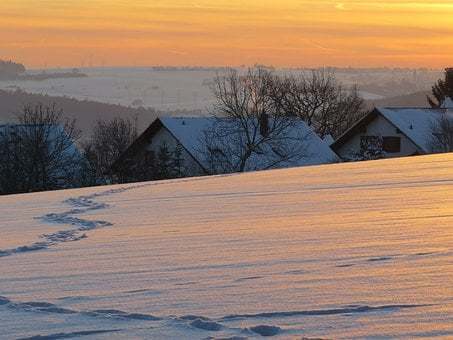 Abendstimmung, Winter Mood, Cozy, Snow Landscape, Homes