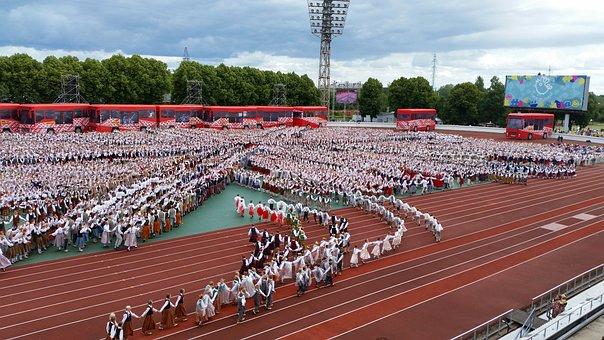 Dance, Festival, Latvia, Europe, People, Croud