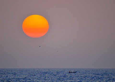 Sunset, Fishermen, Sea, Canoe, Fishing, Senegal