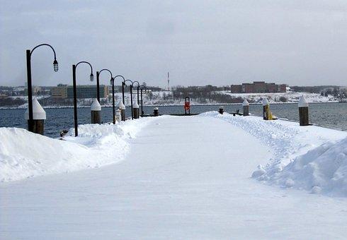 Halifax, Waterfront, Winter, Snow, Ocean, Water