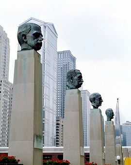 Busts, Monuments, Famous Industrialists, Chicago, City