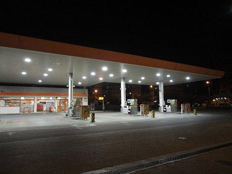 Gasilinera, Night, Lights, Refuel, Gas, Business, Road