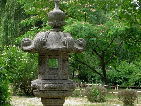 Japanese Garden, Stone Lamp, Asian Culture, Trees