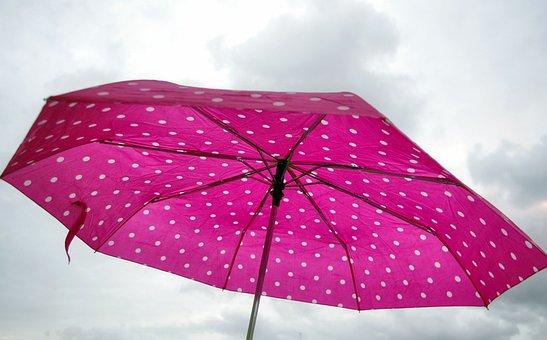 Pink, Umbrella, Rain, Winter, Clouds, Miserable, Happy