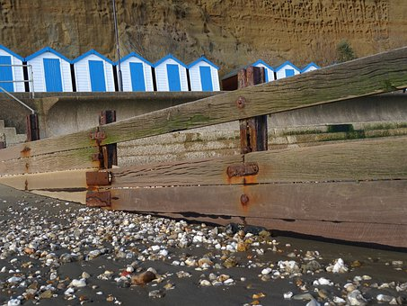 Beach, Beach Huts, Pebbles, Angle, Wooden