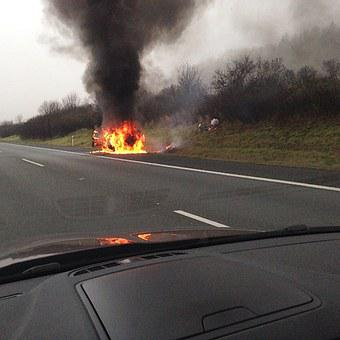 Accident, Highway, Burning Car, Flames, Auto