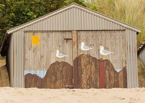 Beach Hut, Beach, Hut, Summer, Sand, Holiday, Coast