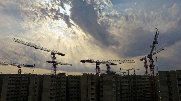 Construction, Site, Cranes, Building Construction