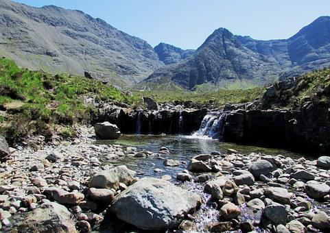 Scotland, Fairy Pools, Isle Of Skye, Highlands, Cuillin