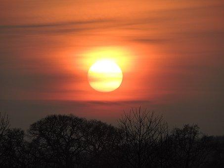 Sunset, Sun, Sky, Nature, Light, Yellow, Evening