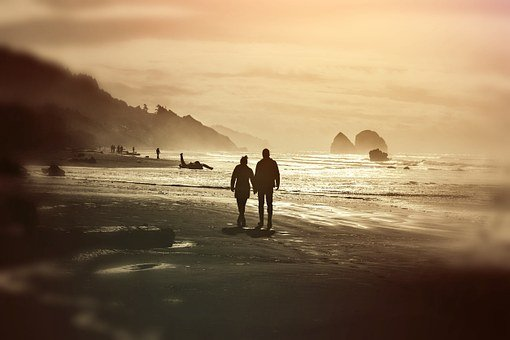 Pair, Couple, Coast, Sea, Human, Mood, Evening Light