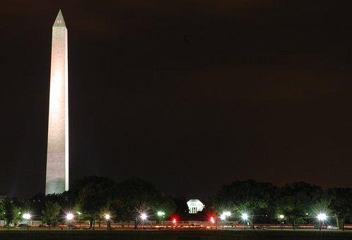 Washington Dc, Night, Evening, Washington Monument