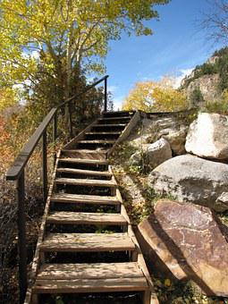 Wooden Stairs In Mountains, Wooden Stairs Outdoors