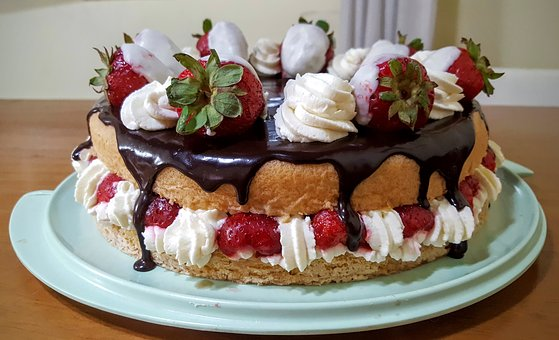 Cake, Strawberry, Chocolate, Cream, Sweet, Sponge Cake