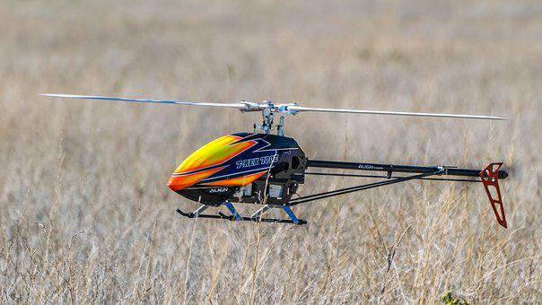 Drone, Field, Grass, Helicopter