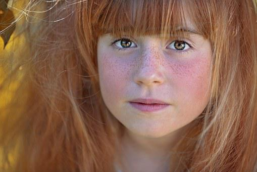 Person, Human, Female, Girl, Face, Hair, Eyes, Freckles
