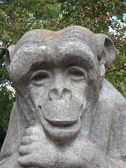 Monkey, Stone, Stony, Face, Smiling, Friendly
