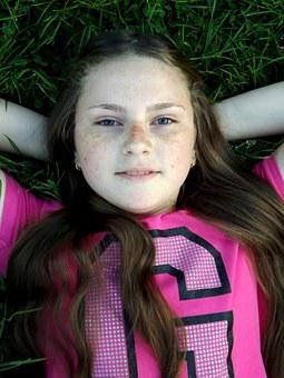 Girl, Freckles, Portrait, Smile, Grass