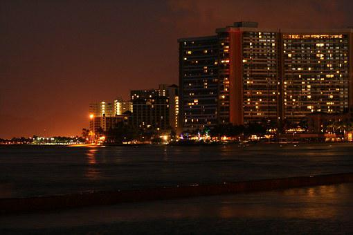 Havaii, Night, Mar, Ocean, Beach, Hotel, Sunset, Agua