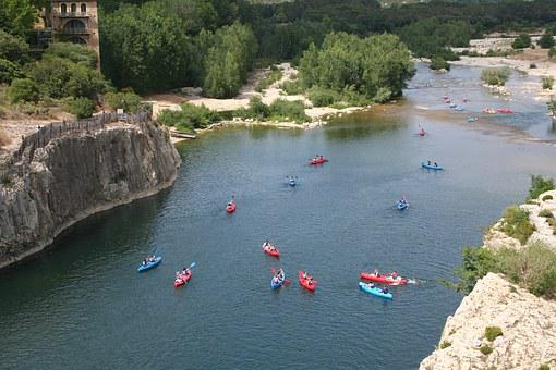 France, Pont Du Gard, Holiday, Kayaks