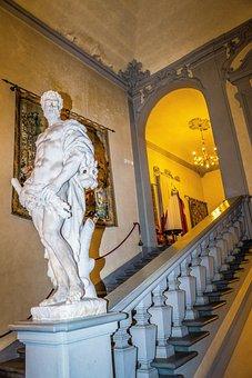 Statue, Italy, Hotel Astoria, Stairwell, Europe
