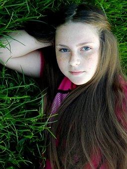 Girl, Freckles, Portrait, Long Hair