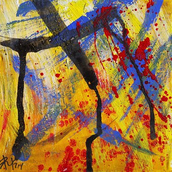 Painting, Abstract, Stains, Colors, Yellow, Taches