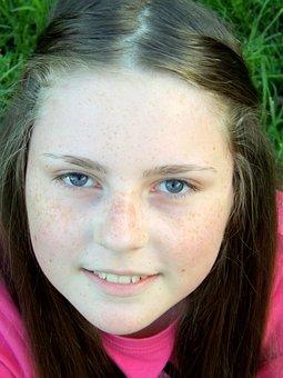Girl, Freckles, Portrait, Smile