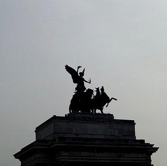 Marble Arch, London, Statue, Silhouette, Sculpture