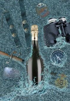 Champagne, Bottle, Sea, Dirk, Paraphernalia, Sevastopol