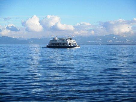 Romanshorn, Ship, Ferry, Car Ferry, Pass, Clouds
