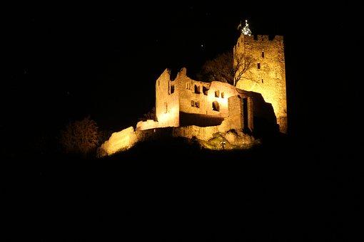 Local At Night, Burgruine, Castle, Waldkirch, Night