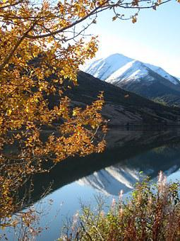 Autumn, Alaska, Reflection, Mountain, Lake, Snowcapped