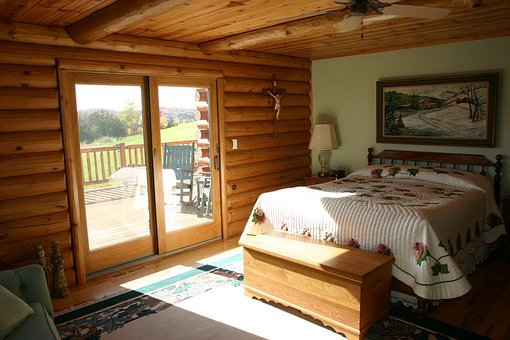 Master Bedroom, Bed, Logs, Cabin, Log Home, Bedroom