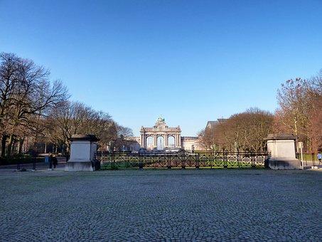 Brussels, Belgium, Arcades Du Cinquantenaire, Landmark