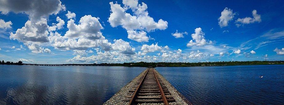 Oldsmar, Florida, Train Tracks, Water, Clouds, Nature