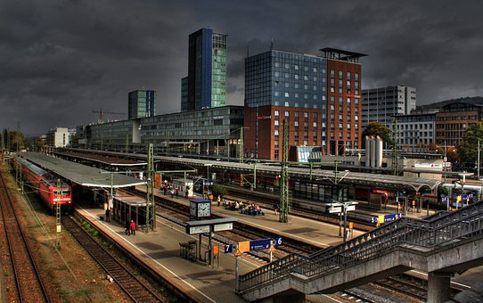 Freiburg, City, Germany, Railway Station, Train, Gleise