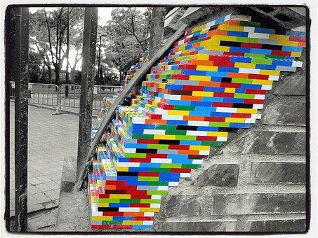 Lego, Wall, Splash, Urban Art, Lego Pieces