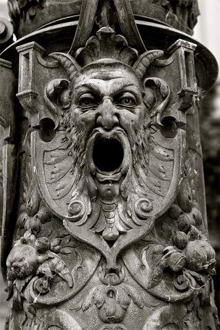 Gothic, Face, Iron, Gargoyle, Mask, Eyes, Black