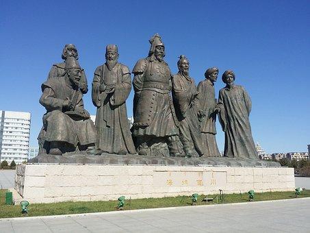 Inner Mongolia, Jingkiseukan, Statue, Mongolia