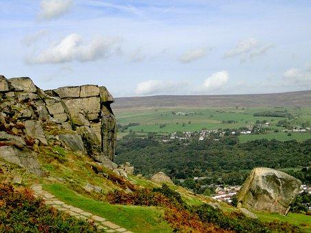 Moor, England, Rock, Ilkley, Landscape, United Kingdom