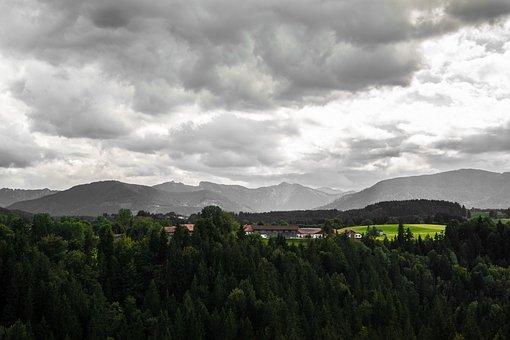 Alpine, Clouds, Autumn, Forest, Meadow, Pasture, Farm