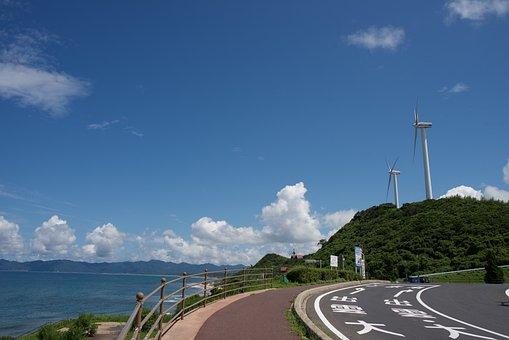 Road, Blue Sky, Wind Turbine, Journey, Landscape, Route