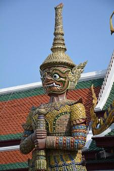 Temple Of The Emerald Buddha, Giant, Statue, Thailand