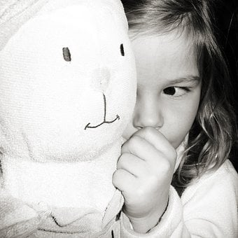Young, Girl, Tired, Bunny, Toy, Black And White, Kid