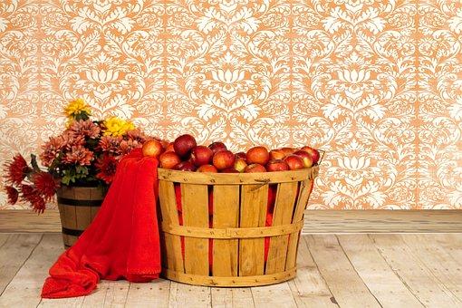 Apple Basket, Apples In Basket, Fall, Autumn