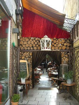 Backyard Cafe, Input, Curtain, Red, Wood, Dining Tables